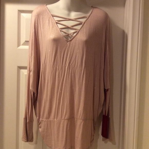 Jennifer Lopez Tops - NWT Jennifer Lopez Pink Sparkle Blouse Top Size L